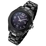 Cirros Milan Ottimo Black Ceramic Ladies Watch with Diamond Dial