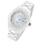 Cirros Milan White Ceramic Ladies Watch with Diamonds