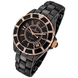 Rougois Women's High Tech Black Ceramic Watch with Gold and Genuine Diamonds