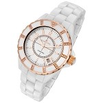 Rougois Women's High Tech White Ceramic Watch with Rose Gold and Genuine Diamonds
