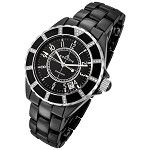 Rougois Women's High Tech Black Ceramic Watch with Genuine Diamonds