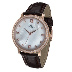 Rougois Covington Series Stainless Steel Rose Gold Tone Watch with Leather Band