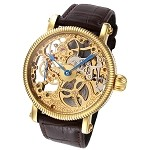 Rougois Mechanique Gold Skeleton Watch Brown Leather Band