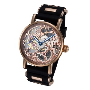 Rougois Rosarita Gold Mechanical Skeleton Watch - Silicone Band