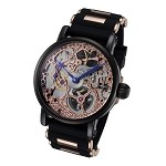 Rougois Rose Gold Mechanical Skeleton Watch - Silicone Band