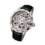 Limited Edition Rougois Skeleton Steel Watch with Crystals