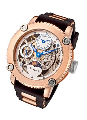 Rougois Skeleton Two Time Zone Mechanical Watch Rose Gold with Black Band with Gold Metal Inserts