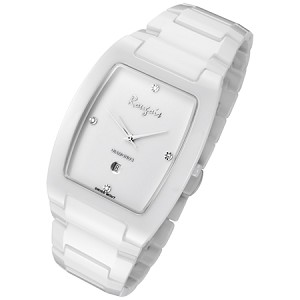 Rougois Men's High-Tech White Ceramic Watch with Genuine Diamonds