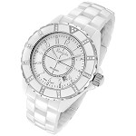 Rougois Women's High Tech White Ceramic Watch with 36 Genuine Diamonds