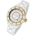 Rougois Women's High Tech White Ceramic Watch with Gold and Genuine Diamonds
