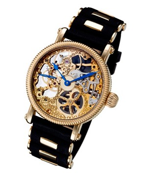 Rougois Mechanique Gold Skeleton Watch Rubber Band with Gold Inserts