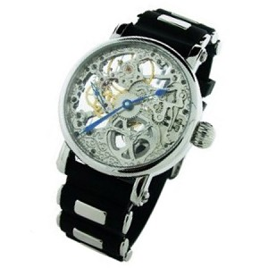 Rougois Mechanique Silver Tone Skeleton Watch Black Rubber Strap