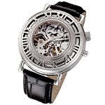 Rougois Open Skeleton Mechanical Watch Silver Tone with Black Leather Band