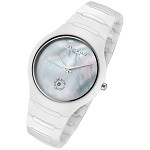 Cirros Milan Luxury Unisex White Ceramic Watch with Crystals and a Mother of Pearl Dial 2376GW