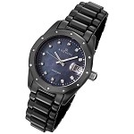 Women's Black Ceramic Watch with 23 Genuine Diamonds and Mother of Pearl Dial