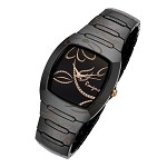 Rougois Ladies Bloom Series Black Ceramic Rose Gold Accents Watch