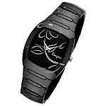 Rougois Ladies Bloom Series Black Ceramic Rose Accents Watch