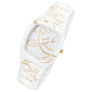 Rougois Ladies Bloom Series White Ceramic Watch Gold Accents