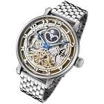 Rougois Moonphase Automatic Skeleton Watch Dual Time