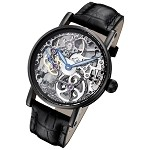 Rougois Tattoo Black Mechanical Skeleton Watch