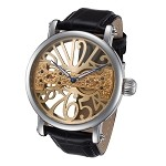 Rougois Gold Tone Face Skeleton Watch with Bridge Mechanical Movement