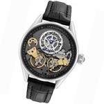 Rougois Men's Regal Double Escapement Automatic Watch with Black Strap