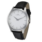 Rougois Gentry Series White Dial Watch with Black Leather Band