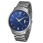 Rougois Madison Series Blue Textured Dial Stainless Steel Watch