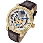 Rougois Gold Case Dual Time Zone Watch with White Accents and Moonphase Display