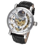 Rougois Silver Case and Dual Time Zone with White Accents and Moonphase Display with Black Leather Band