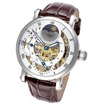 Rougois Silver Case and Dual Time Zone with White Accents and Moonphase Display with Brown Leather Band