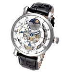 Rougois Silver Case Dual Time Zone Watch with White Accents