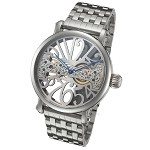 Skeleton Watch with Bridge Mechanical Movement and Steel Band by Rougois